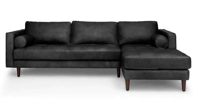 Sven Oxford Black Right Sectional Sofa - Article
