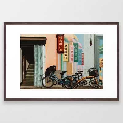 Bicycle Shadows with Walnut Frame - Society6