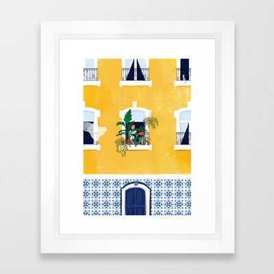 """Lisbon girl Framed Art Print, Scoop White, 10"""" x 12"""" - Society6"""