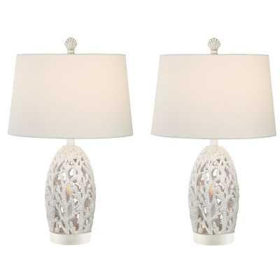 "Resendez Coral Coastal 25"" Table Lamp Set (Set of 2) - Wayfair"