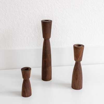 Tapered Wood Candlesticks Wood White Oak, Set Of 3 - West Elm