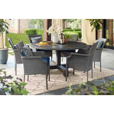Hampton Bay Grayson Ash Gray 7-Piece Wicker Round Outdoor Dining Set with Olefin Blue Cushions - Home Depot