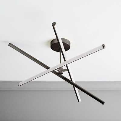 Light Rods LED Chandelier/Flushmount, Dark Bronze - West Elm