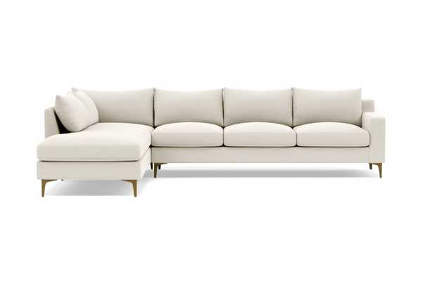Sloan 4-Seat Left Chaise Sectional, Heathered Weave Chalk - Interior Define