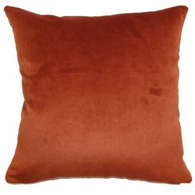 """Juno Solid Pillow Rust-20""""x20""""-with poly insert - Linen & Seam"""