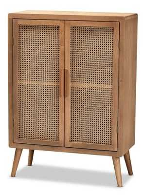 Alana Mid-Century Modern Oak and Rattan 2-Door Cabinet - Lark Interiors