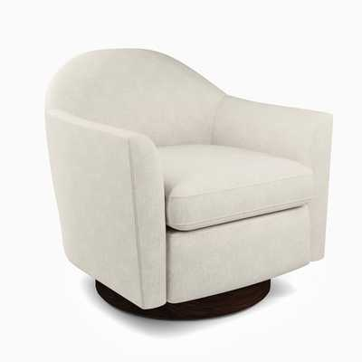 Haven Swivel Chair, Poly, Performance Yarn Dyed Linen Weave, Stone White, Dark Walnut - West Elm
