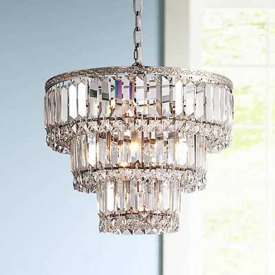 "Magnificence Satin Nickel 14 1/4"" Wide Crystal Chandelier - Lamps Plus"