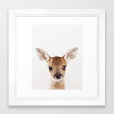 Baby Deer, Baby Animals Art Print By Synplus Framed Art Print - Society6