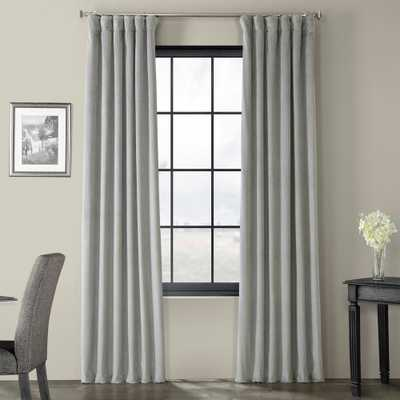 Exclusive Fabrics & Furnishings Blackout Signature Silver Grey Blackout Velvet Curtain - 50 in. W x 96 in. L (1 Panel) - Home Depot