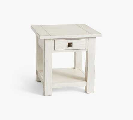 "Benchwright 24"" Square End Table, Tudor White - Pottery Barn"