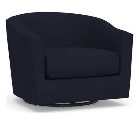 Harlow Upholstered Swivel Armchair, Polyester Wrapped Cushions, Twill Cadet Navy - Pottery Barn