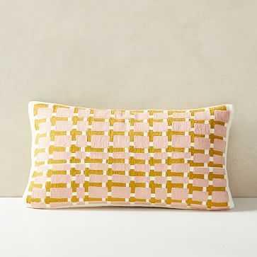 """Block Grid Pillow Cover, 12""""x21"""", Blush - West Elm"""