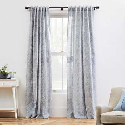 "Woodland Shine Jacquard Curtain, Hazy Blue, 48""x84"" - West Elm"