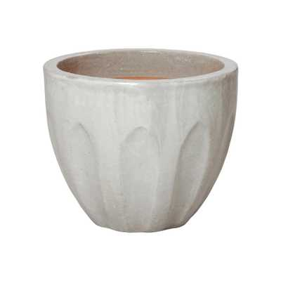 Emissary 16 in. Dia Round Stone Gray Ceramic Calyx Planter - Home Depot
