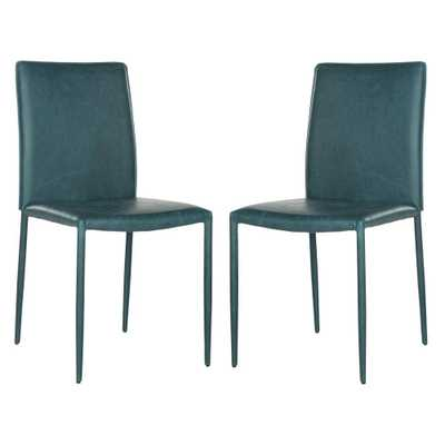 Karna Bonded Leather Dining Chair in Antique Teal (2-Pack) - Home Depot