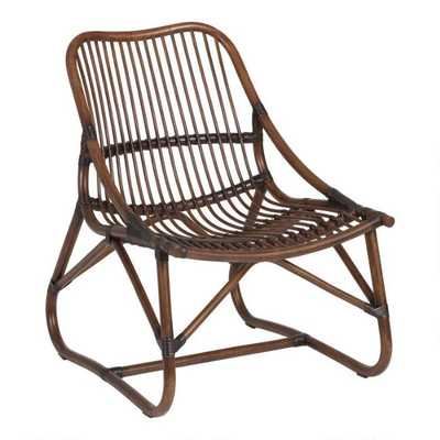 Espresso Handwoven Rattan Slope Arm Kenji Rattan Chair - World Market/Cost Plus