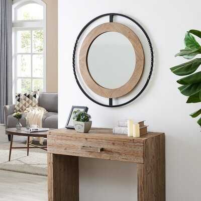 "Emrick Rustic Industrial 32"" Round Iron And Natural Wood Framed Accent Wall Mirror - Wayfair"