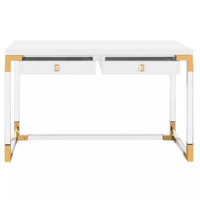Dariela Acrylic Desk - White/Clear - Arlo Home - Arlo Home