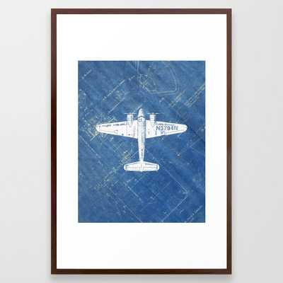 Industrial Art Print Airplane Art Print Blueprint Artwork Modern Art Living Room Decor Blue & White Framed Art Print - Society6