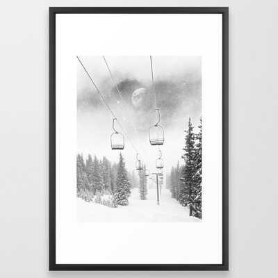 Ski Lift Moon Break // Riding the Mountain at Copper Colorado Luna Sky Peeking Foggy Clouds Framed Art Print - Society6