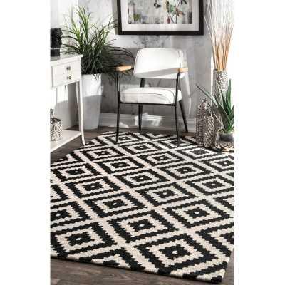 Stach Geometric Handmade Tufted Wool Black Area Rug - Wayfair