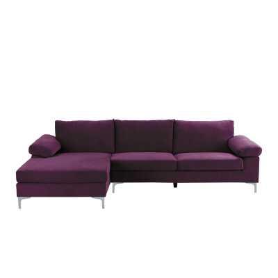 """Martello 101"""" Velvet Left Hand Facing Sofa & Chaise - Wayfair"""