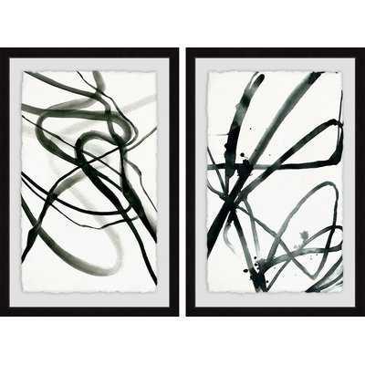 'Toxic Lines Diptych' by Julia Posokhova 2 Piece Framed Print Set in Black/White - Wayfair
