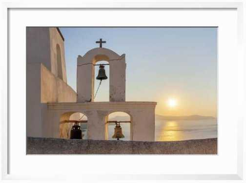 A Summer Sunset on the Mediterranean Island of Santorini, with a Historic Church and a Bell Tower - art.com
