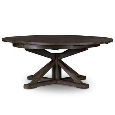 Chabert French Reclaimed Wood Extendable Round Dining Table - Large - Kathy Kuo Home
