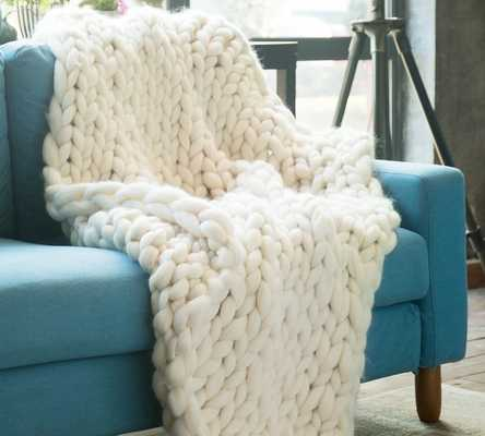 Pinkley Pure Australian Chunky Knit Wool Blanket - White - AllModern