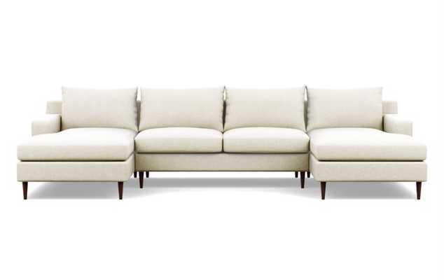 Sloan Sectionals with U-Sectionals in Vanilla Static Weave Fabric with Oiled Walnut Tapered Round Wood legs - Interior Define