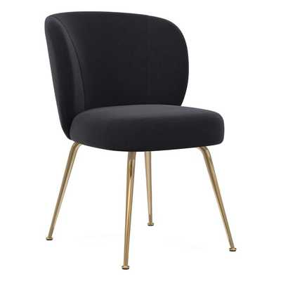 Greer Dining Chair, Performance Velvet, Shadow, Light Bronze - West Elm