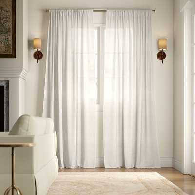 Leon Solid Color Sheer Tab Top Curtain Panel - Set of 2 - Birch Lane