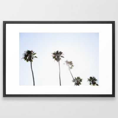"Palm Trees Framed Art Print 26 x 38"" vector black - Society6"