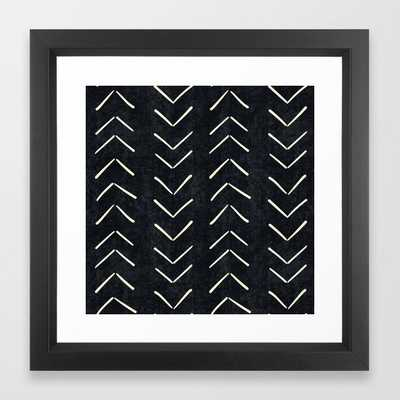 Mudcloth Big Arrows in Black and White Framed Art Print - Society6