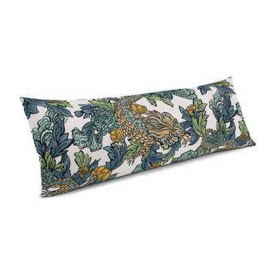 "Large Lumbar Pillow - 14"" x 48"" - Ming Dragon/Midnight - Down Insert - Loom Decor"