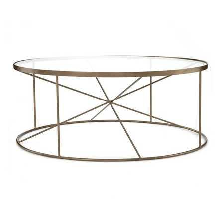 Aiken Round Coffee Table, Antique Brass - Pottery Barn