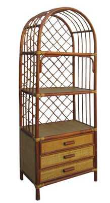 Chinese Antique Bamboo Rattan Face Hand Made Bookcase Display Cabinet - Houzz