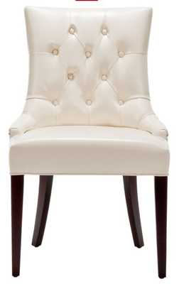 AMANDA 19''H LEATHER TUFTED CHAIR - NICKEL NAIL HEADS - Arlo Home