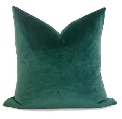 Plush Velvet Pillow Cover - Emerald Green 22x22 - Willa Skye
