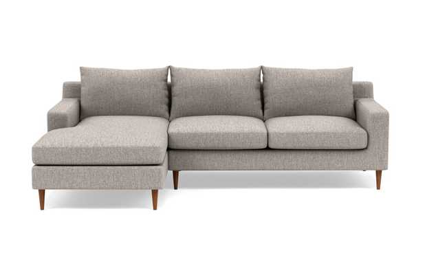 Sloan Chaise Sectional in Earth Cross Weave- 96'' Long-  Oiled Walnut Tapered Square Wood - Interior Define