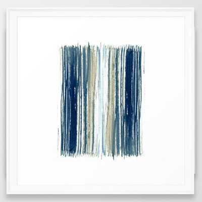 Indigo Blue and Beige Watercolor Stripes Framed Art Print - Wander Print Co.