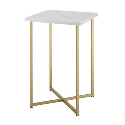 16 in. White Marble Top Gold Legs Square Side Table, White/Gold - Home Depot
