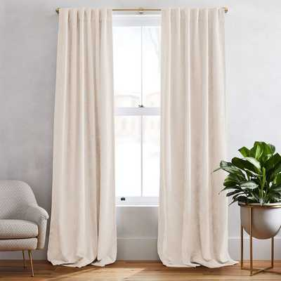"Worn Velvet Curtain, Ivory, 48""x108"" blackout lining - West Elm"