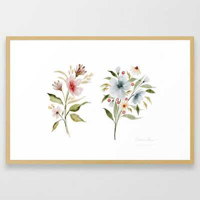 Two Tiny Bouquets Framed Art Print - Society6