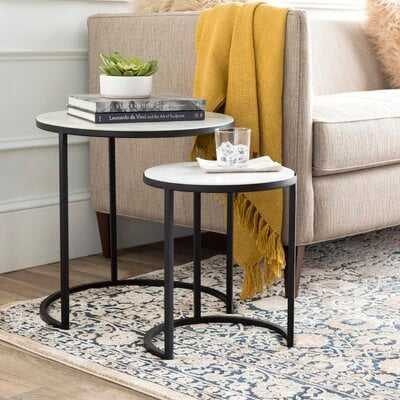Hiram Marble Top C Table Nesting Tables (Set of 2) - AllModern