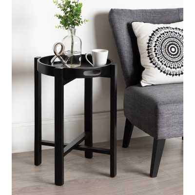 Orting Round Wooden Foldable Tray Table, Black - Wayfair