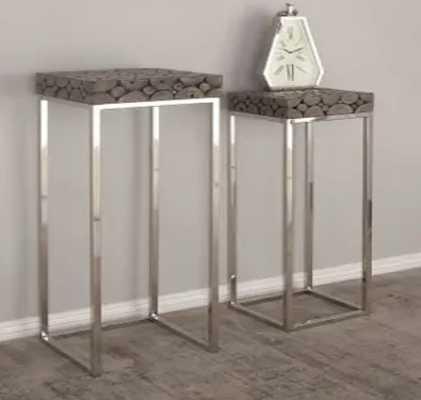 Studio 350 Stainless Steel/Teakwood Pedestals (Set of 2) - Overstock