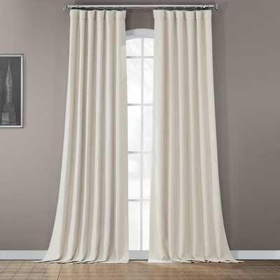 Exclusive Fabrics & Furnishings Semi-Opaque Oat Cream Bellino Blackout Curtain - 50 in. W x 108 in. L (Panel) - Home Depot